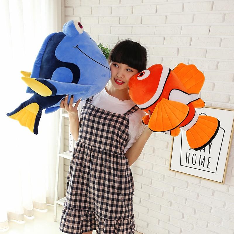 New Hot Big 1pcs 65cm Lovely Dory Nemo Clownfish Plush Toy Clown Fish Nemo Soft Stuffed Doll Gift Children's Birthday Present
