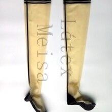 Изготовлено из 0,4 мм толщины натурального латекса stockingss мужские прозрачные с черным контуром украшения
