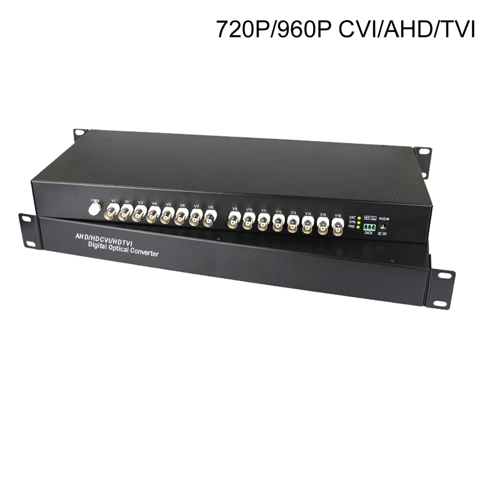 High Quality HD CVI/AHD/TVI 16 CH Video Fiber Optical Converters Transmitter Receiver For 720P 960P AHD CVI TVI HD Cameras CCTV
