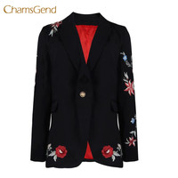 2017 Autumn Winter Vintage Floral Embroidery Blazer Notched Collar Pockets Casual Outerwear Brand Plaid Casaco Doct11