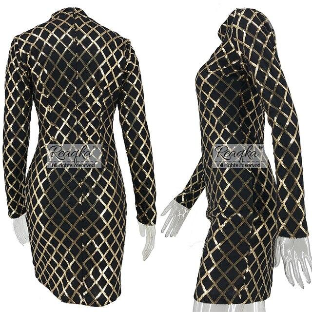 Autumn Winter Black Long Sleeve Sheath Gold Pattern High Neck Party Dresses 2