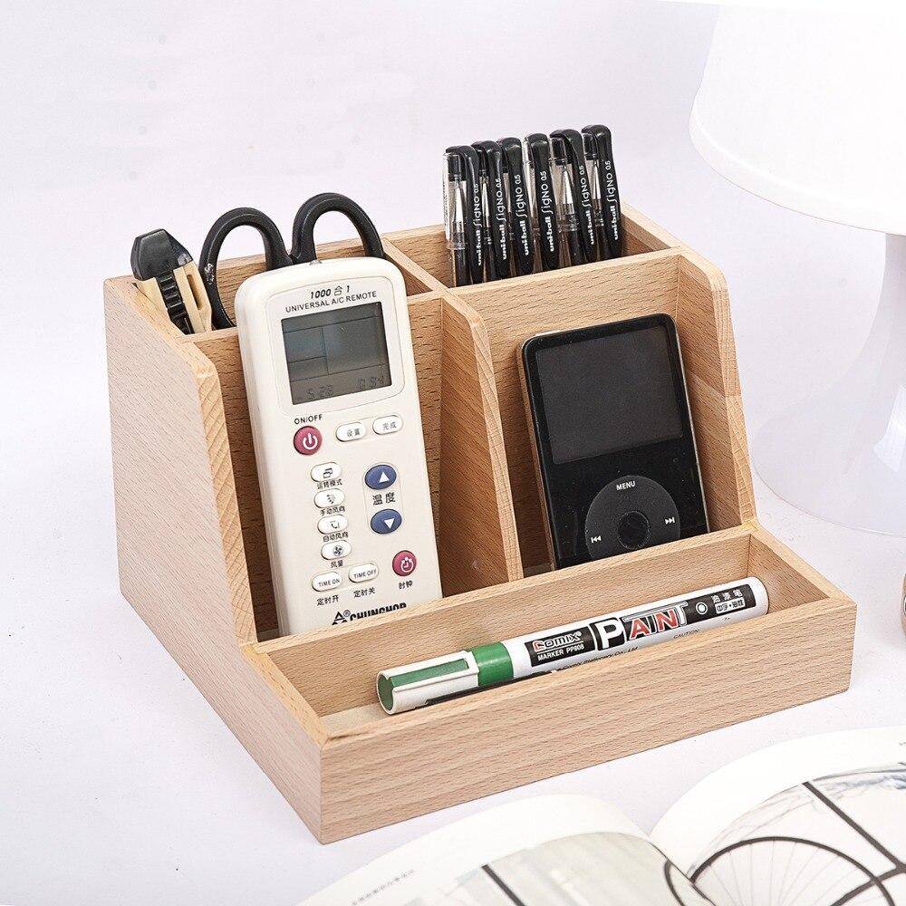 Small Fresh Wood Desktop Storage Box Phone And Remote