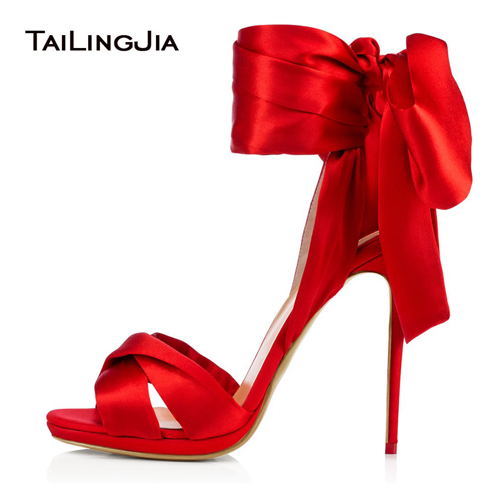 Ladies Sexy High Heel Black Satin Sandals Ankle Strap Red Dress Heels Women Summer Stiletto Heel Shoes with Slim Platform 2018 flock leather women ankle strap high heel sandals platform sexy fashion party shoes for woman black with 10cm heels ch a0060