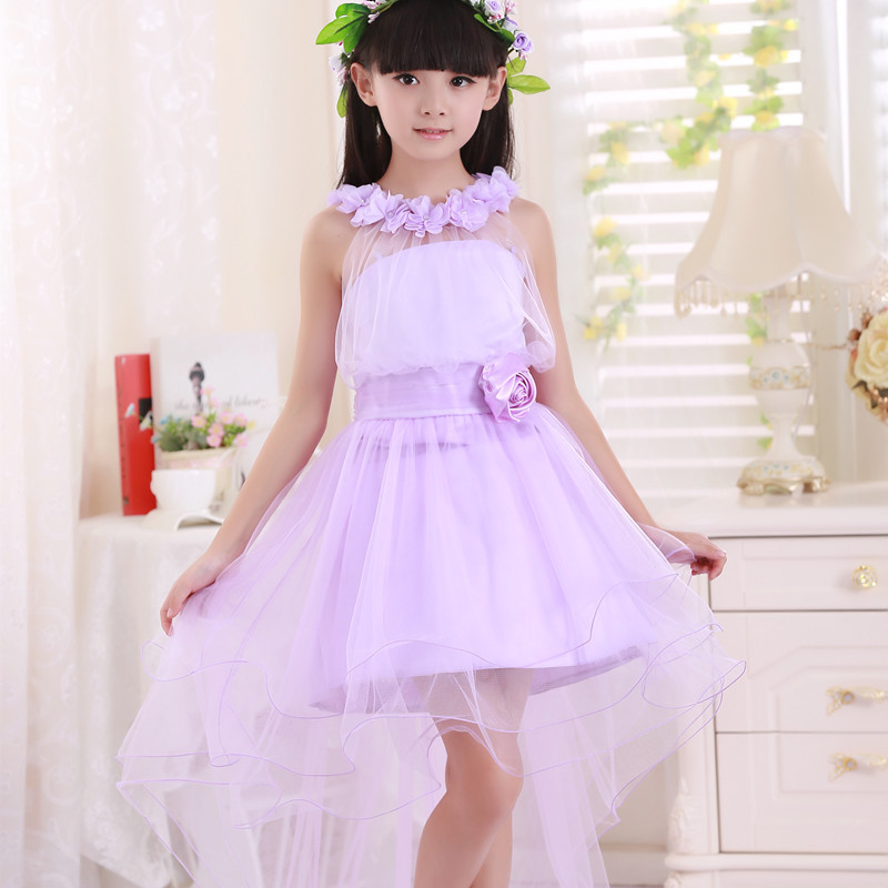 Retailing new girl dress elegant trailing gown purple party dress ...