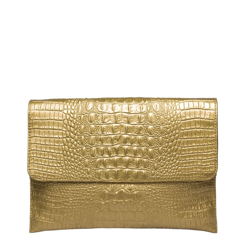 ФОТО 2017 New Arrial Gold Clutch Purse Designer Handbag Women Leather Envelope Clutch Bag Textured Crocodile Hand Bag High Quality