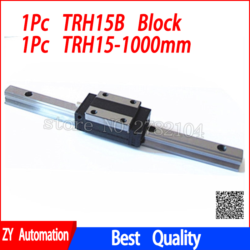 New linear guide rail TRH15 1000mm long with 1pc linear block carriage TRH15B or TRH15A CNC