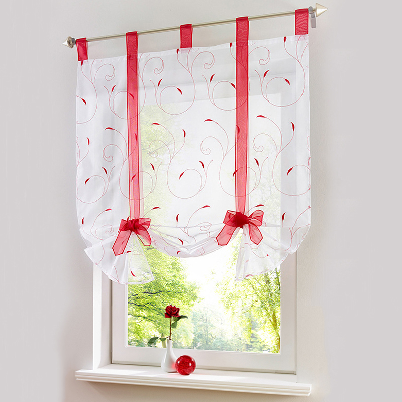 Roman Shade European Embroidery Style Tie Up Window Curtain Kitchen Curtain Voile Sheer Tab Top Window Curtains Cortinas 1Pcs