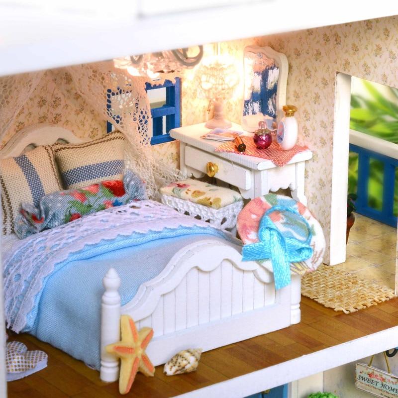 Maison décoration artisanat bricolage maison de poupée en bois maisons de poupée maison de poupée miniature à monter soi-même Kit de meubles chambre LED lumières cadeau A-026 - 4