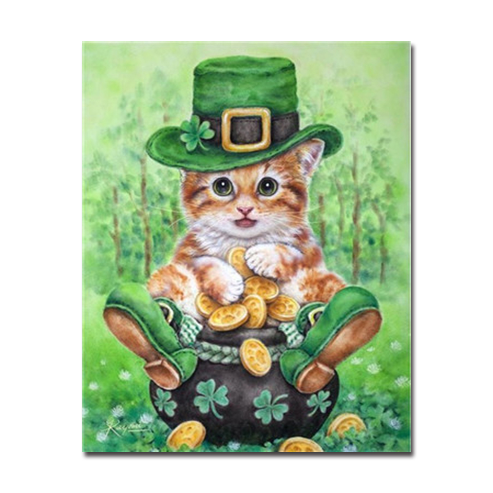 DIY Oil Painting By Numbers Kits Coloring Kitten Wearing Green Hat ...