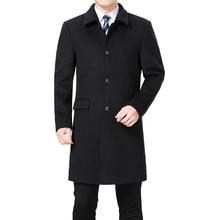 2019 New Men Woolen Coat Winter Wool Cashmere Pea Overcoat Long Jacket Blend Palto Erkek Mont Kaban