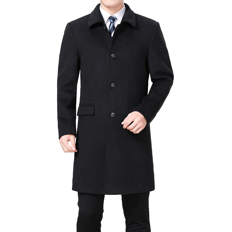 2020 New Men Woolen Coat Winter Wool Cashmere Coat Pea Coat Men Wool Overcoat Long Jacket Wool Blend Coat Palto Erkek Mont Kaban