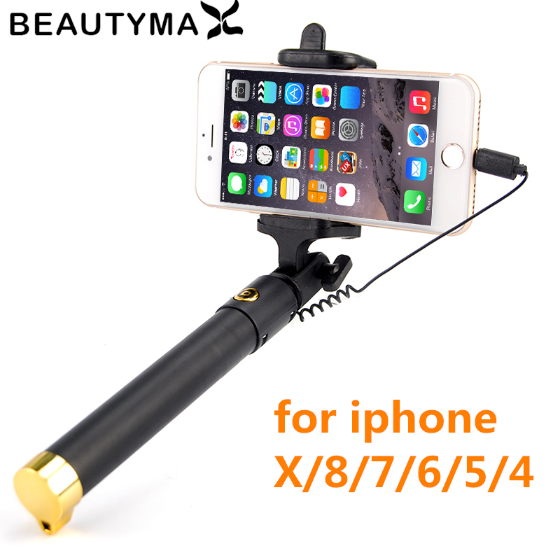 Selfie Stick For iPhone Xs XR XS MAX Wired Selfie Monopod for iphone X 8 7 6 6s plus 5 5s 4s Selfie Tripod Selfie-timer Monopod 2018 khp mini selfie stick tripod wired silicone handle monopod universal selfie stick for iphone android xiaomi selfie sticks