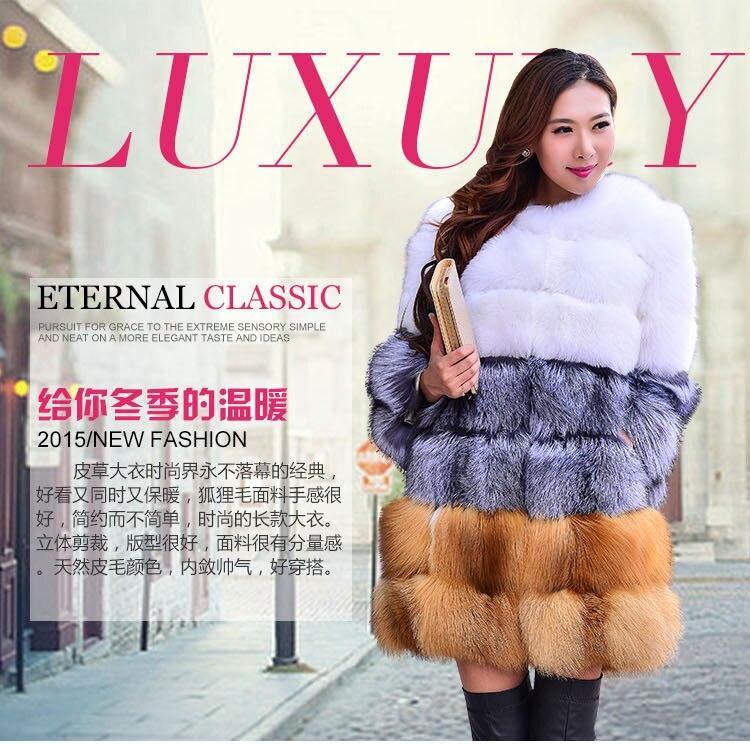 ロシアスタイル2016新しい冬厚く暖かいリアルファーコート用女性、高級本物の赤銀キツネの毛皮ロングコートで白キツネ毛皮