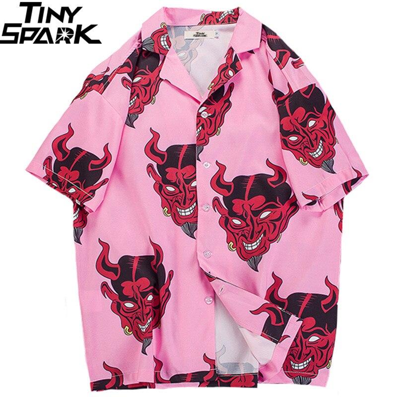 2019 Hip Hop Shirts Streetwear Mens Hawaiian Shirt Devil Head Harajuku Summer Beach Shirt Hawaii Thin Pink Tops Short Sleeve