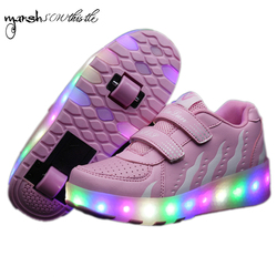 wheels shoes roller shates shoes glowing sneaker kid boy girl invisible automatic pulley single/double wheels shoes fire pattern