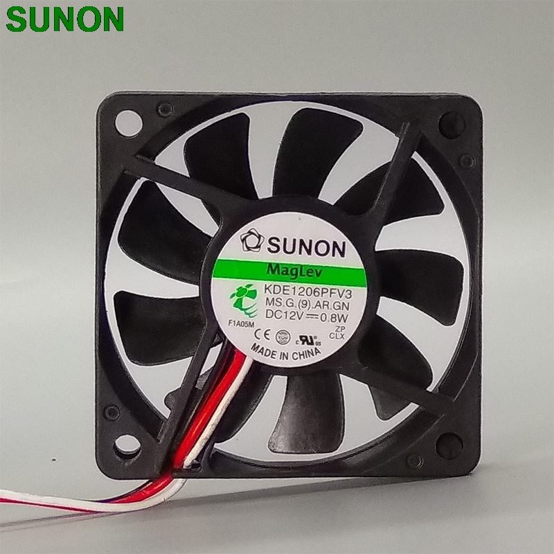 Original SUNON KDE1206PFV2 6010 6cm 12V 1.0W slim 60*60*10mm magnetic bearing cooling fan 4000RPM 14.0CFM адаптер отвод stout диаметр 60 100 для котла вертикальный коаксиальный sca 6010 240100