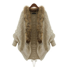 SUOGRY 2018 New Winter Womens Capes and Ponchos Fashion Raccoon Fur Sweater Women Knitted Cardigan Poncho