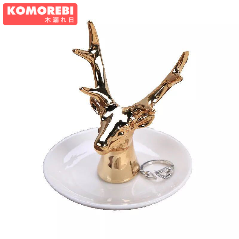 KOMOREBI Ceramic jewelry torage Jewelry Stand Display Rings Earrings Necklace Holder Organizer Rack Tower (Deer)