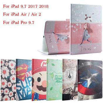 Funda para iPad 9,7 2017 2018 moda pintada Flip PU cuero para iPad 5/6 funda inteligente para iPad de aire/aire 2/Pro 9,7 + regalo