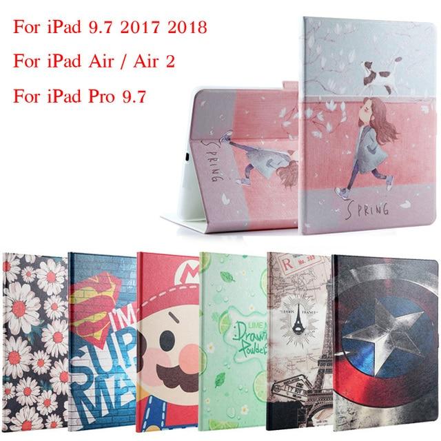 Trường hợp Cho iPad 9.7 2017 2018 Thời Trang Lật Painted PU Leather Cho iPad 5/6 Thông Minh Trường Hợp Bìa Cho iPad Không Khí/Không Khí 2/Pro 9.7 + Quà Tặng