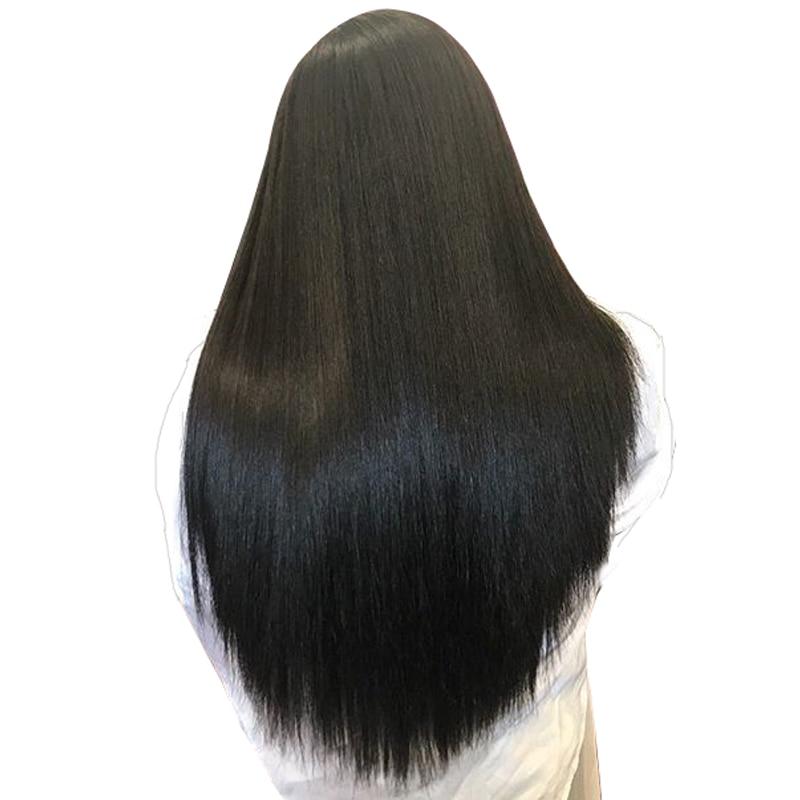 Синтетические волосы на кружеве Человеческие волосы Искусственные парики для Для женщин натуральный черный 250% высокой плотности бразильский прямые Синтетические волосы на кружеве парик предварительно сорвал Remy Cara