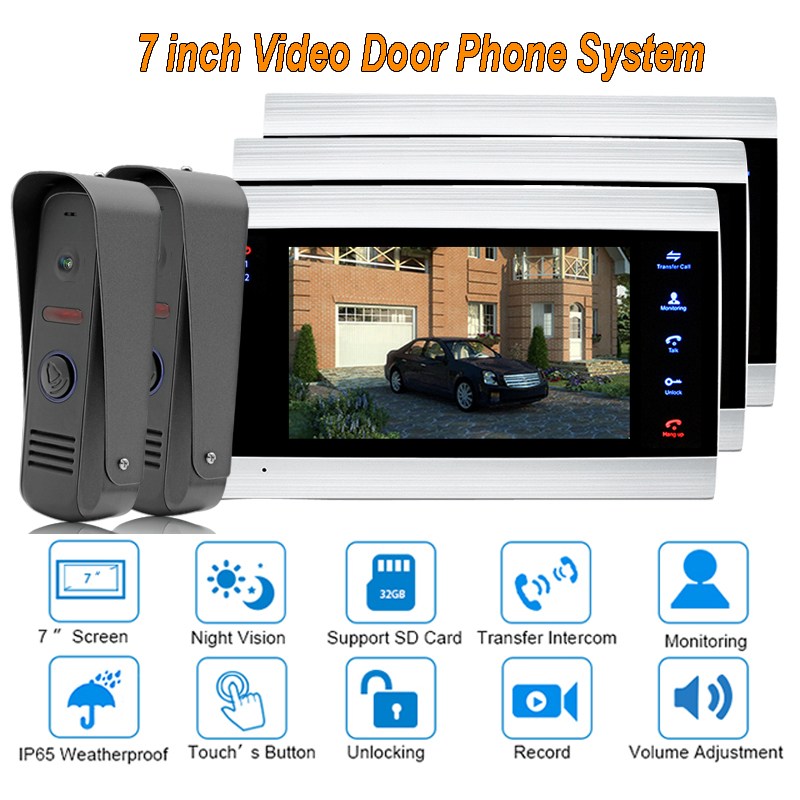 2017 new Video Door Intercom Doorbell System Home Security Camera Monitor with ip65 Rainproof 7 TFT display 1200TVL2 V 3 yobang security free ship 7 video doorbell camera video intercom system rainproof video door camera home security tft monitor