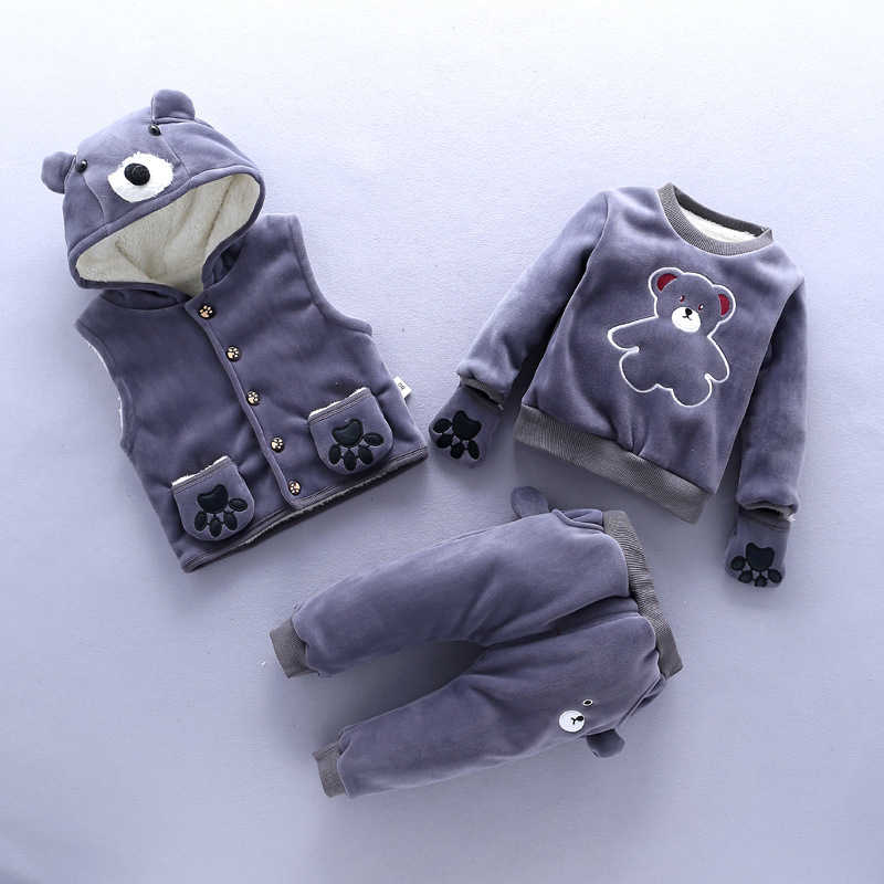 BibiCola baby girl winter clothing set 3pcs sport suit newborn girl warm clotes casual sport suits infant girl tracksuit