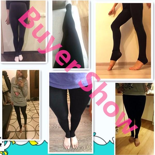 CHRLEISURE Warm Women's Plus Velvet Winter Leggings Ankle-Length Keep Warm Solid Pants High Waist Large Size Women Leggings 5