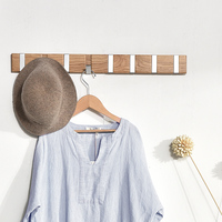 Solid Wood Hanging Retractable Hanger Clothes Racks Sitting Room Bathroom Coat Hooks Wall Storage 1/3/4/6/8 Hooks Nordic Style