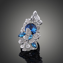 Фотография 2017 fashion Accessories Jewelry silver Color Blue Crystal Flower Butterfly Finger Ring For Women  High-grade Wedding gift J0279