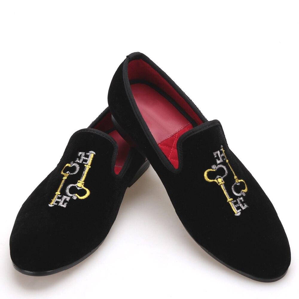 Da Ouro Moda Dos Chave Prata Veludo Preto E Cor Mix Vestir Bordado Combinar Sapatos De Homens RR47Pwz