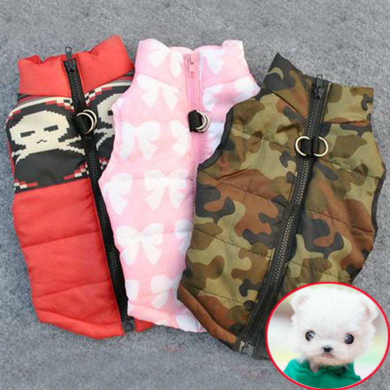 Winter Warm Pet Dog Clothes Vest Harness Puppy Coat Jacket Flower Printing Pet Dot Warm Clothing For French Bulldog Chihuahua
