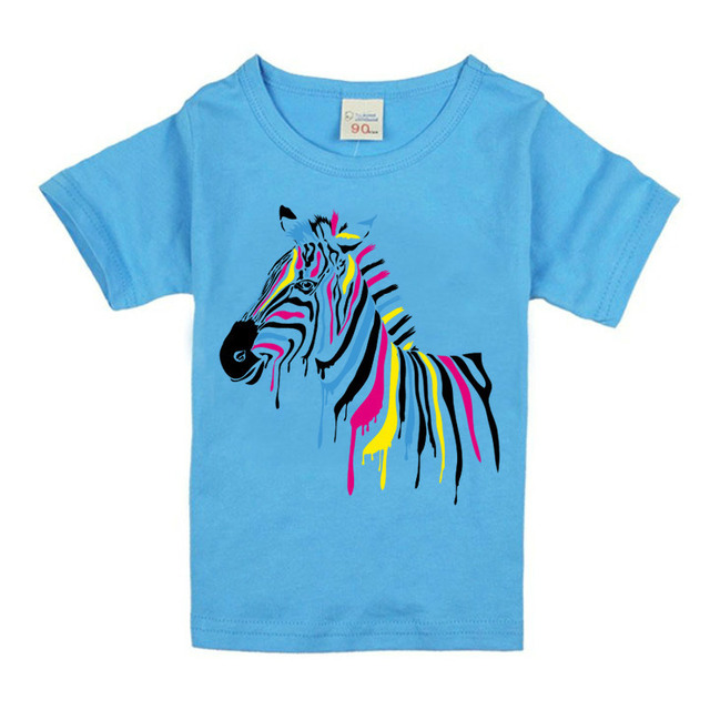 1ac7565f34 Kid s Zebra Cartoon T-Shirts Boys Girls Funny Tops T shirt Children Cool  Blue White Pink Baby Casual Clothes