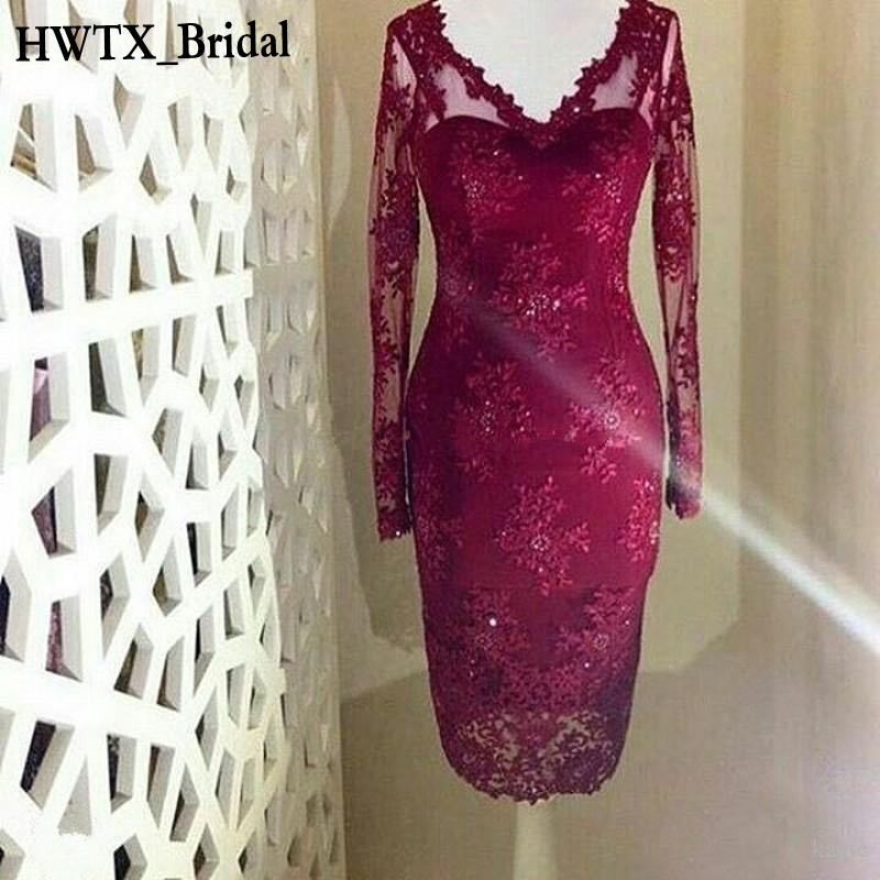 Burgundy Lace Mother Of The Bride Dresses Long Sleeve V Neck Plus Size Tea Length Formal Evening Prom Party Gowns 2018 Cheap