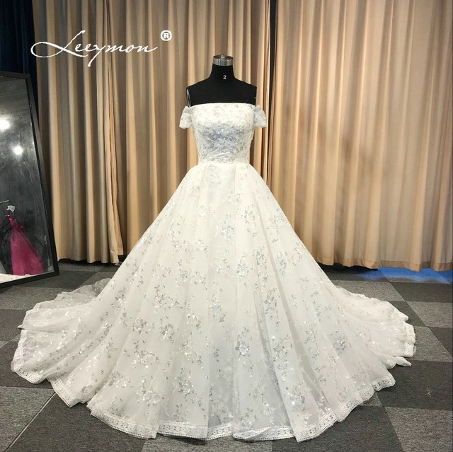 Leeymon Custom Made 2019 Free Shipping Wedding Dress Elegant Off-Shoulder  Sequins Lace Ball Gown Wedding Dress Real Pictures 135c3231e148