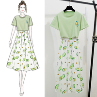 2019 summer new avocado pattern green top t shirt set + women sweet casual Mid Calf pleated skirt 2 pcs set se383