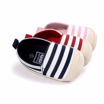 2019 Fashion Blue Striped Baby Boys Baby Girls Shoes Lovely Infant First Walkers Cute Soft Sole Toddler Baby Shoes Hot Sale