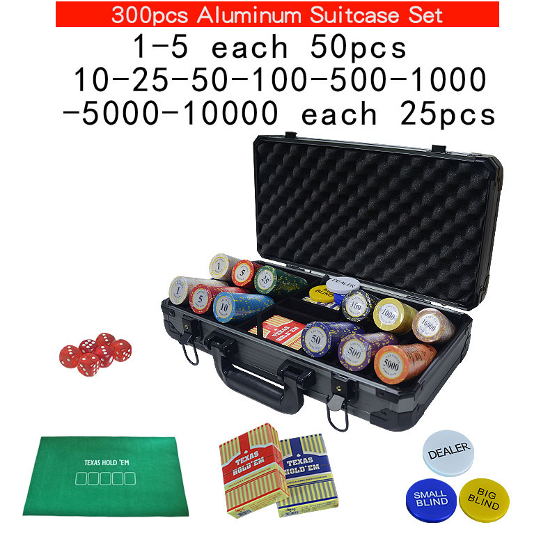 100,200,300,400,500pcs/set Clay Chips Sets Las Vegas poker Set Chips Texas Hold'em Pokers with Thick Aluminum Suitcase <font><b>LasVegas</b></font> image