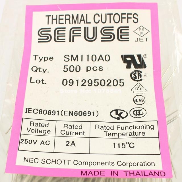 50 Pcs Per Lot Microtemp Thermal Fuse 115 Degree TF Cutoff 2A 250V SM110A0