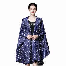 Yuding Polka Dot Womans Raincoat Fordable Polyester Hooded Rain coat Outdoors Bicycle Packable Women Poncho For Heavy