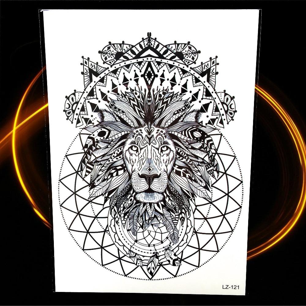 Black Henna Temporary Tattoo Indian Tribal Lion Totem Waterproof Fake Flash Tattoo Stickers For Women Men Body Arm Legs Neck Art