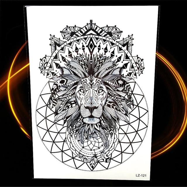 Noir Tatouage Temporaire Henne Indien Tribal Lion Totem Impermeable