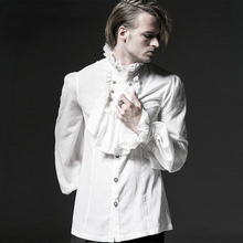 Punk Gothic Men Chiffon Shirt Blouses Steampunk Lace Embossed Shirt Stand Collar Party Formal Blouse op