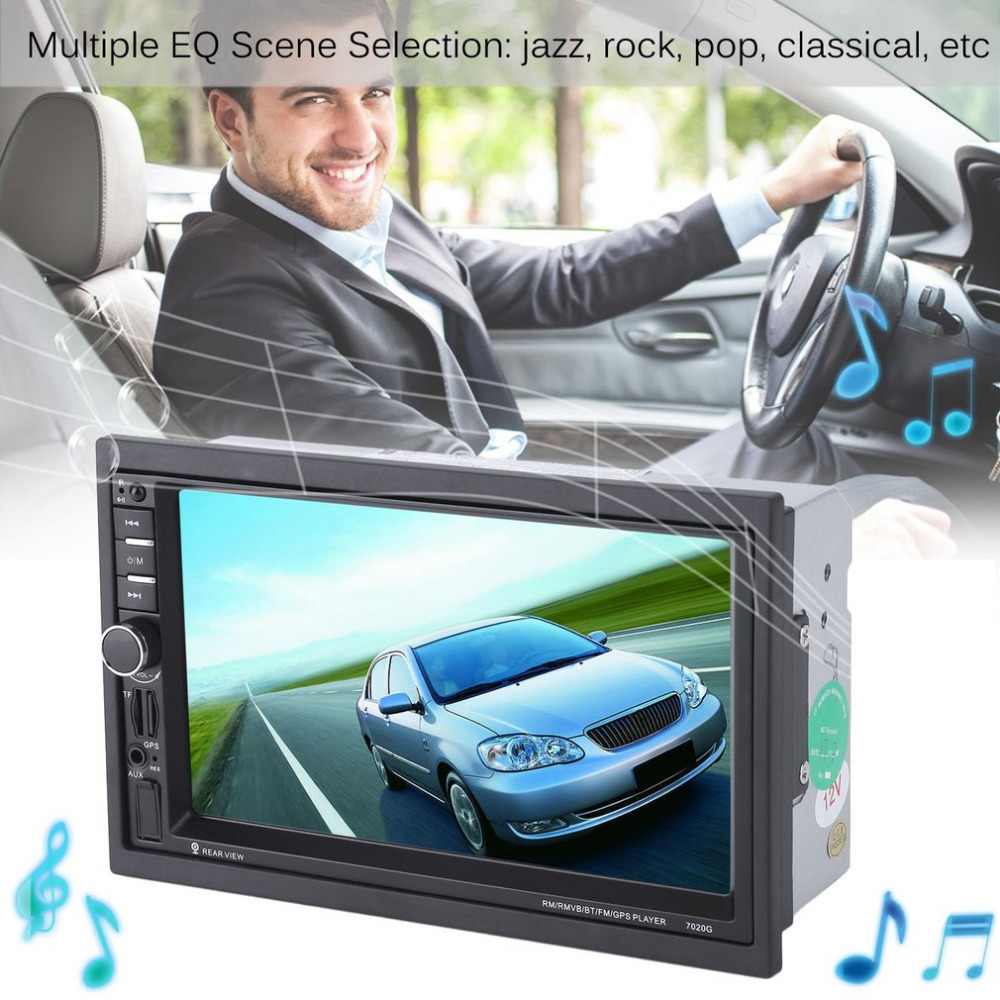 7 inch Touch Screen Car Bluetooth Audio Stereo MP5 Player with Rearview Camera  GPS Navigation FM Function And Remote Control 7 inch car bluetooth universal audio stereo mp5 player with rearview camera touch screen gps navigation fm function and remote