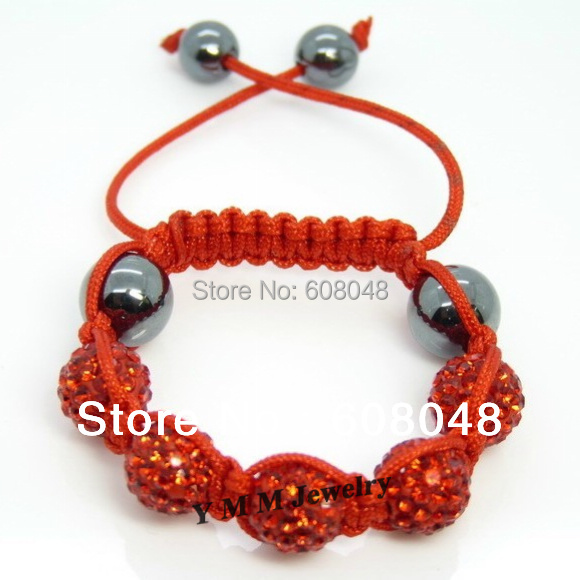 Wholesale 5pcs Kid's Bracelet Red Disco Ball Bracelet Red Cords Free Shipping