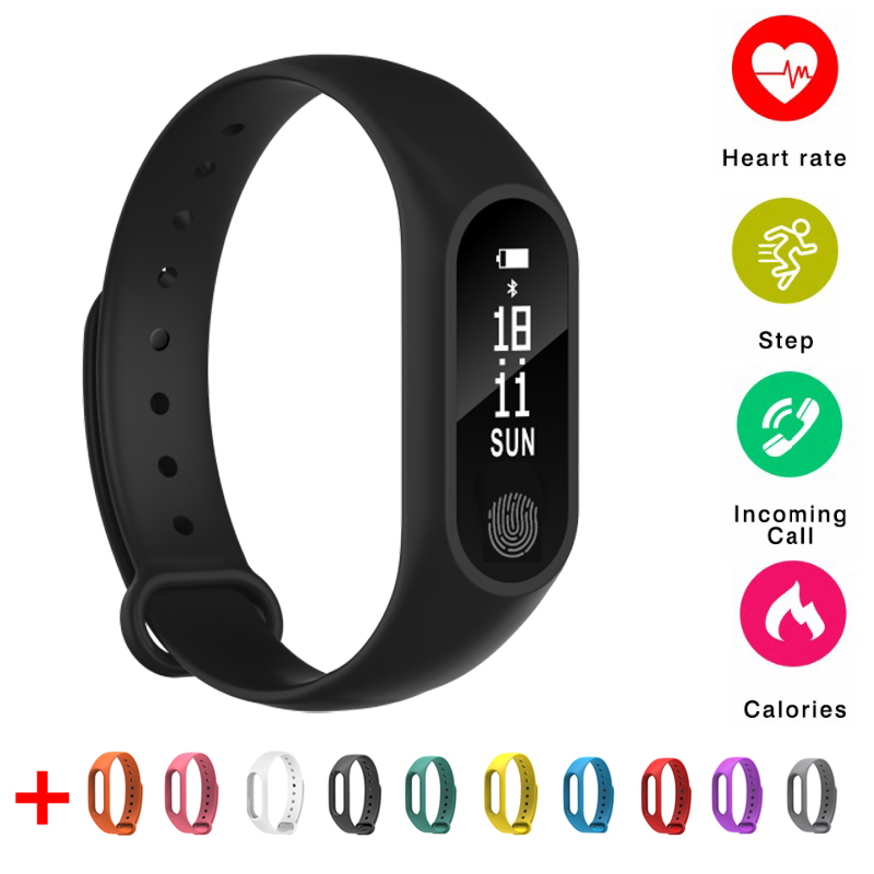 2018 New Smart Band M2 Bluetooth Smart Bracelet Heart Rate Monitor Smartband Fitness Tracker Pedometer Wristband for Android IOS mymei bluetooth pedometer tracker smartband remote camera wristband for android ios sc
