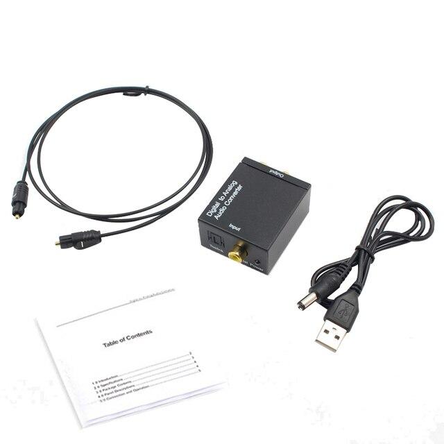 Optik koaksiyel Toslink dijital Analog ses dönüştürücü adaptör RCA L/R 3.5mm