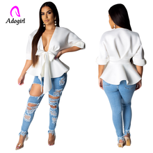 Blouse Tops Women V Neck Shirt Ladies OL Party Top Dames Streetwear Blusas Femininas Elegante Kimono Mujer De Moda 2019