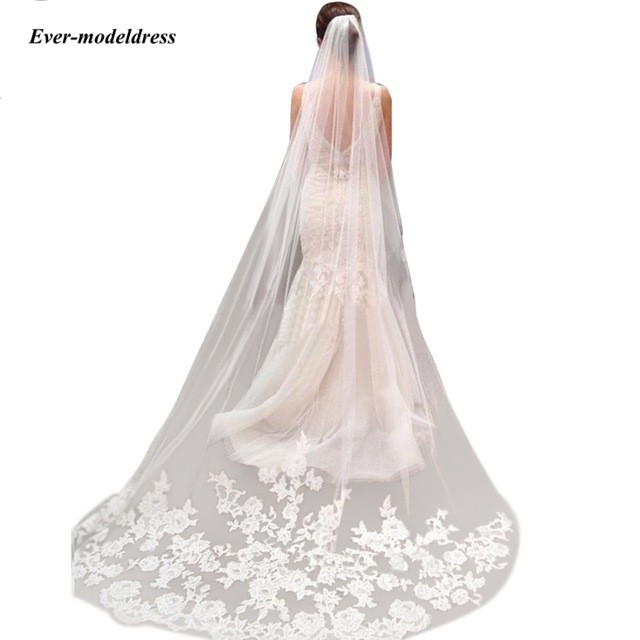 Ever-modeldress 3M One Layer Lace Edge Catherdal Wedding Veils With Comb Appliques Long Bridal Veils Cheap Wedding Accessories
