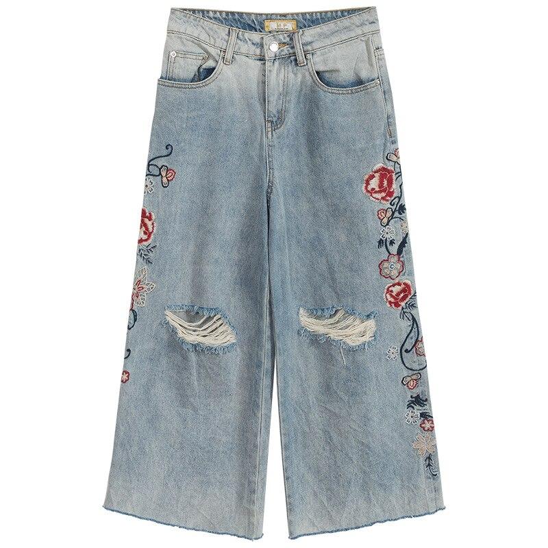 Vaqueros Bordado Pantalones Para Las Mujeres Tobillo Agujero Mujer Longitud Primavera De Verano Ocasionales Rasgado La Denim Del Pierna Ancha qagRn0w